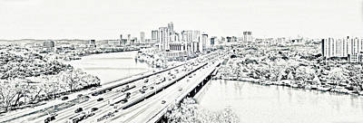 Digital Art - Busy Austin In Stamp by James Granberry