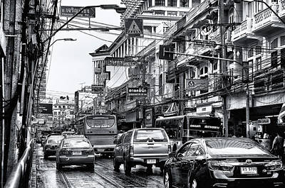 Photograph - Busy Bangkok In Black And White by William Shevchuk