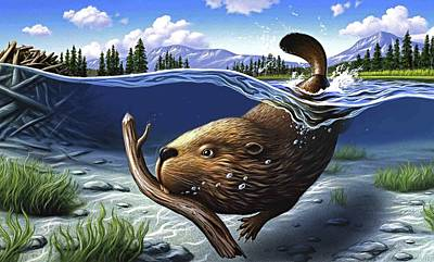 Swimming Digital Art - Busy Beaver by Jerry LoFaro