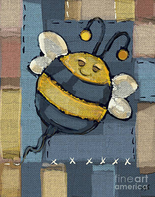 Smiling Mixed Media - Busy Bee by Carrie Joy Byrnes