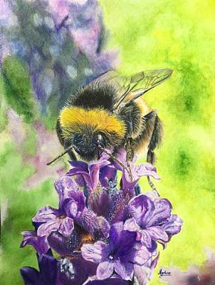 Bumblebee Drawing - Busy Bumblebee by Martine Venis-Heethaar