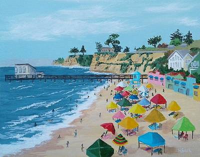 Painting - Busy Capitola Beach by Katherine Young-Beck