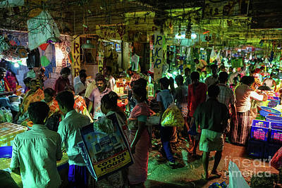 Real Life Photograph - Busy Chennai India Flower Market by Mike Reid
