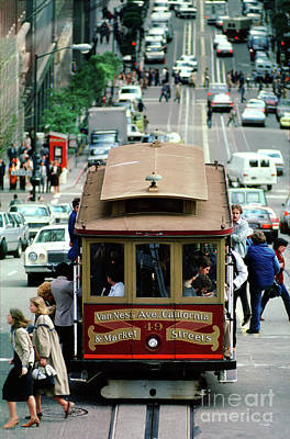 Photograph - Busy Day On The California Street Cable Car Incline by Wernher Krutein