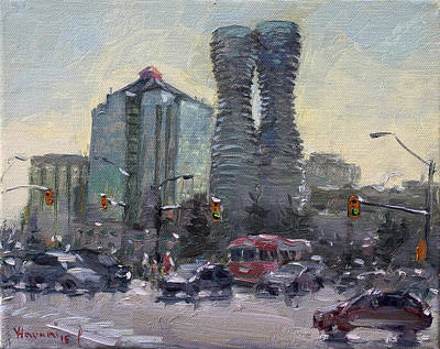 Downtown Wall Art - Painting - Busy Morning In Downtown Mississauga by Ylli Haruni