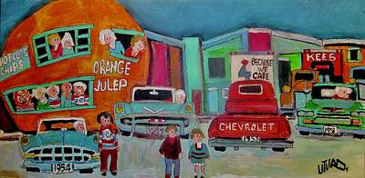 Decarie Painting - Busy Night At The Orange Julep Montreal Icon by Michael Litvack