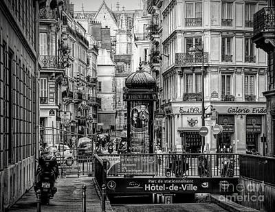 Photograph - Busy Paris Street Hotel De Ville Entrance Black White  by Chuck Kuhn