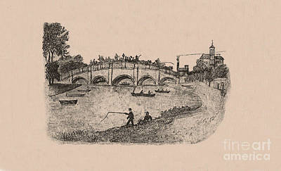 Busy Richmond Bridge And Fishermen Art Print