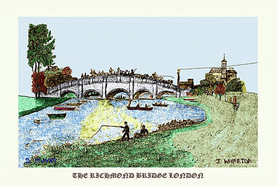 Drawing - Busy Richmond Bridge by Donna L Munro