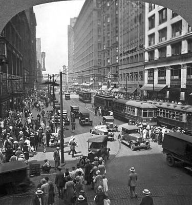 Photograph - Busy State Street In Chicago by Keystone View Company