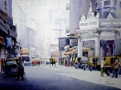 Busy Street In Kolkata Art Print
