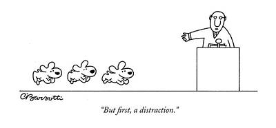 Drawing - But First A Distraction by Charles Barsotti