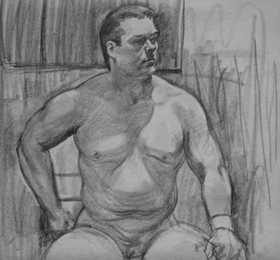 Drawing - Butch Seated by Robert Holden