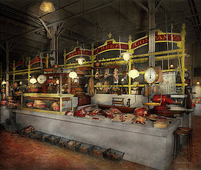 Butcher - Meat Party 1926 Art Print by Mike Savad