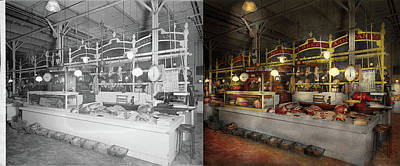 Photograph - Butcher - Meat Party 1926 Side By Side by Mike Savad