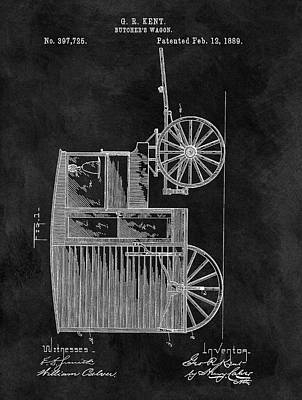 Drawing - Butcher's Wagon Patent by Dan Sproul