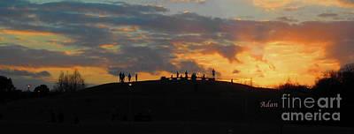 Photograph - Butler Park Sunset Silhouette Austin Texas - One Panorama by Felipe Adan Lerma