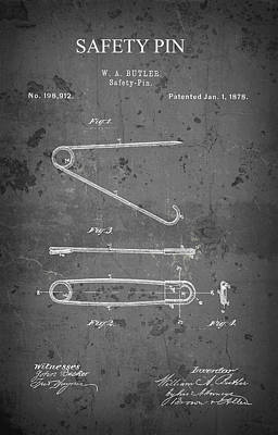 Diaper Digital Art - Butler Safety Pin Patent  1878 by Daniel Hagerman
