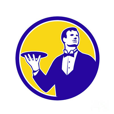 Waiter Digital Art - Butler Serving Plate Circle Retro by Aloysius Patrimonio
