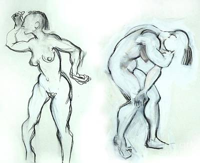 Mixed Media - Butoh Dancers - Nudes by Carolyn Weltman