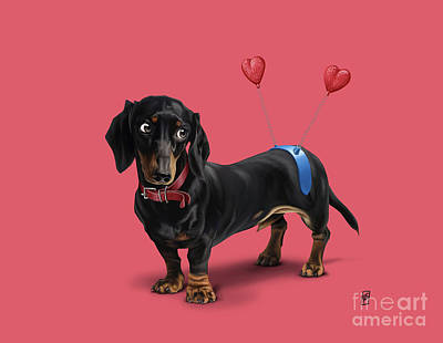 Dachshund Digital Art - Butt Colour by Rob Snow