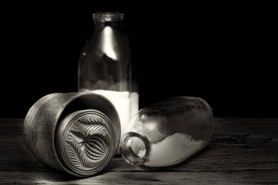 Butter Photograph - Butter Mold And Milk Bottles by Tom Mc Nemar
