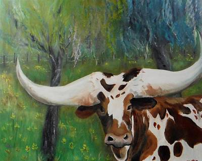 Longhorn Pasture Painting - Buttercup by Jacqueline Whitcomb
