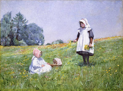 On Paper Painting - Buttercups And Daisies by Minnie Jane Hardman