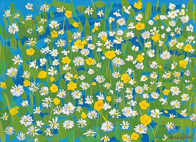 Daffodils Painting - Buttercups And Daisies by Sarah Gillard