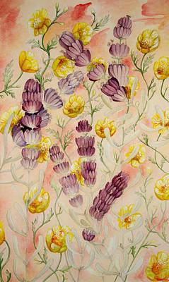 Buttercups And Lavendar Art Print