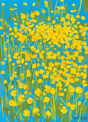 Tulips In Field Painting - Buttercups by Sarah Gillard