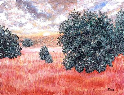 Impressionistic Landscape Painting - Butterfield Meadows Two by Linda Mears