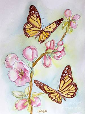 Painting - Butterflies And Apple Blossoms by Inese Poga