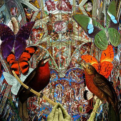 Butterflies Birds And Heart  Original by Joseph Mosley