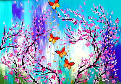 Royalty-Free and Rights-Managed Images - Butterflies and Cherry Blossoms Design by Cathy Jacobs
