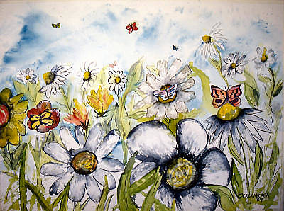Butterflies And Flowers Art Print by Derek Mccrea
