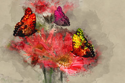 Digital Art - Butterflies And Flowers by Ericamaxine Price