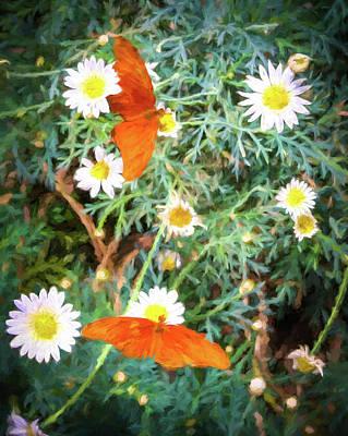 Digital Art - Butterflies And Flowers Impressionist Digital Art by Randy Herring
