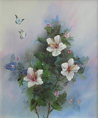 Painting - Butterflies And Flowers by Monique Montney