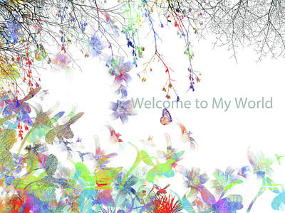 Digital Art - Butterflies And Humming Birds by Trilby Cole
