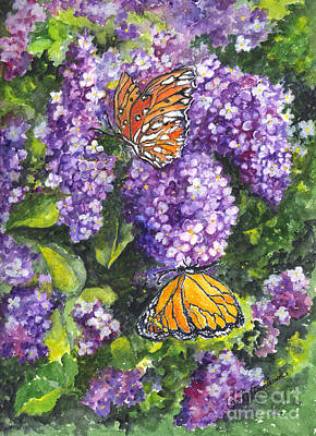 Floral Hand-painted Frame Painting - Butterflies And Lilacs by Carol Wisniewski