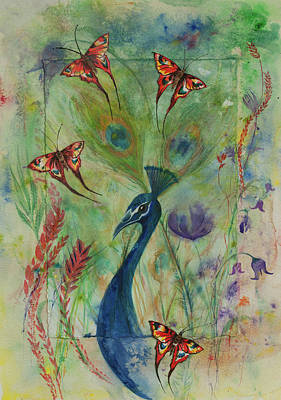 Painting - Butterflies And Peacock by Lynn Hughes