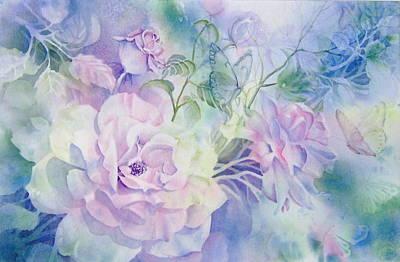 Butterflies-and-roses Art Print by Nancy Newman