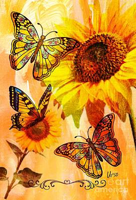 Digital Art - Butterflies And Sunflowers by Maria Urso