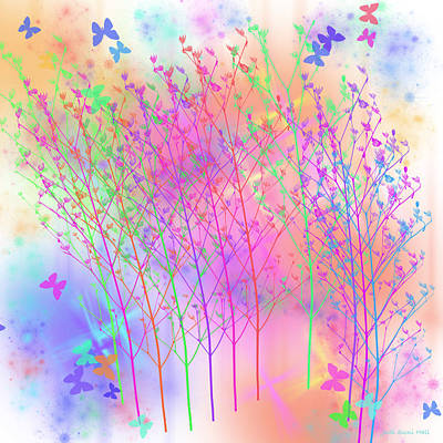 Digital Art - Butterflies And Wildflowers by Judi Suni Hall