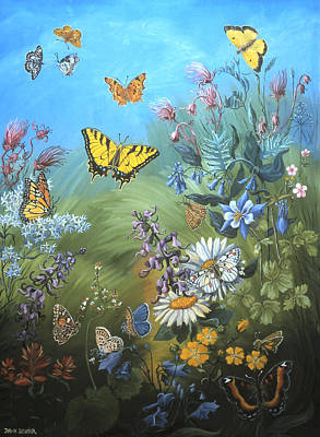 Painting - Butterflies And Wildflowers Of Wyoming by Dawn Senior-Trask
