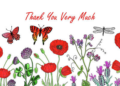 Painting - Butterflies And Wildflowers Thank You Card Design by Irina Sztukowski