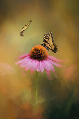 Photograph - Butterflies At Play Flower Art by Jai Johnson