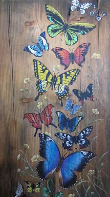 Mixed Media - Butterflies by Barbara Prestridge