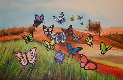 Painting - Butterflies by Jorge Parellada